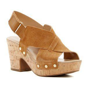 Franco Sarto Kicks Cork Platform Suede Sandals